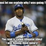 Los Angeles Dodger Yasiel Puig gets arrested for reckless driving going 110 mph in a 70 mph zone on Alligator Alley in Florida
