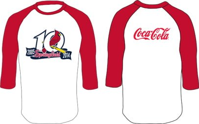 Springfield Cardinals Coke Baseball T Red Sleeves