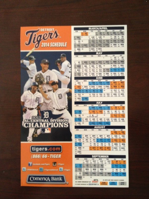 graphic about Tigers Printable Schedule called April 5, 2104 Baltimore Orioles vs Detroit Tigers - 2014