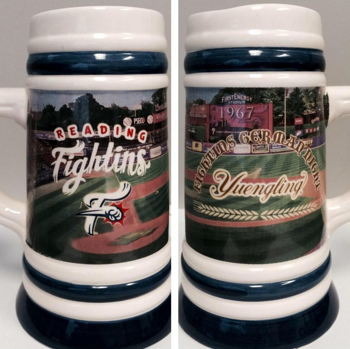 ceramic beer stein - reading fightins - philadelphia phillies