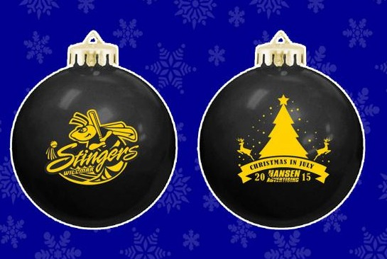 christmas ornament - willmar stingers - northwoods league