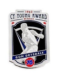 cy young collectors pin series don drysdale - los angeles dodgers