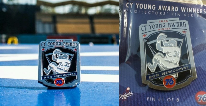 cy young collectors pin series don newcombe - la dodgers - april 13, 2015