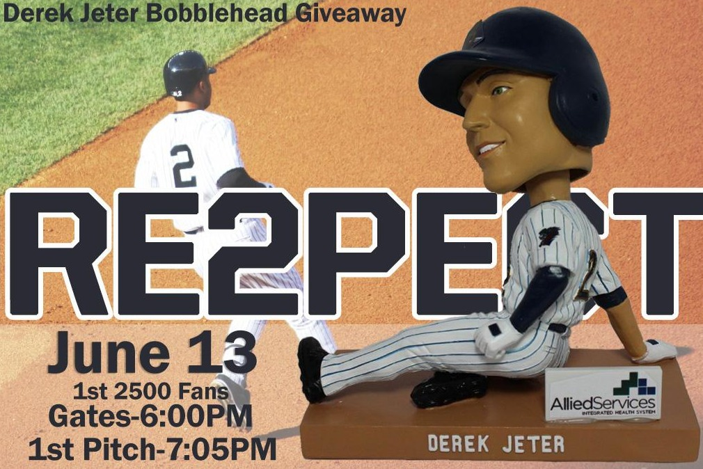 derek jeter bobblehead - swb railriders - new york yankees