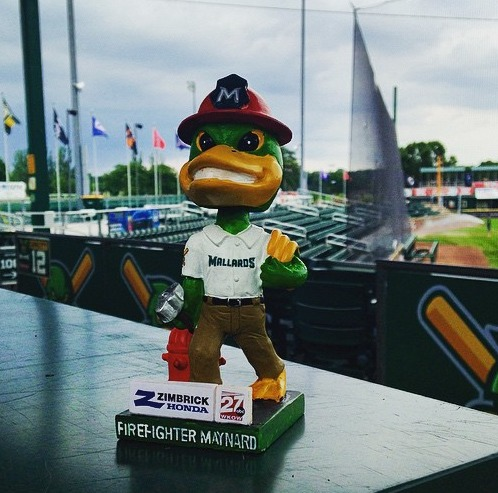 firefighter bobblehead - madison mallards - northwoods league
