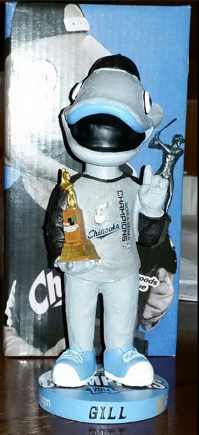 gill championship bobblehead - lakeshore chinooks - northwoods league