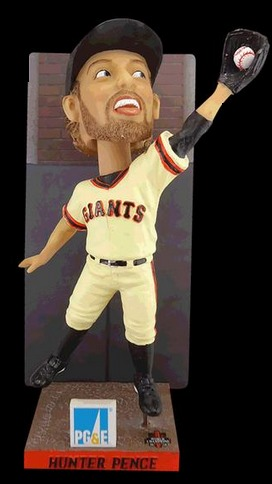 hunter pence wall catch bobblehead - sacramento river cats - san francisco giants