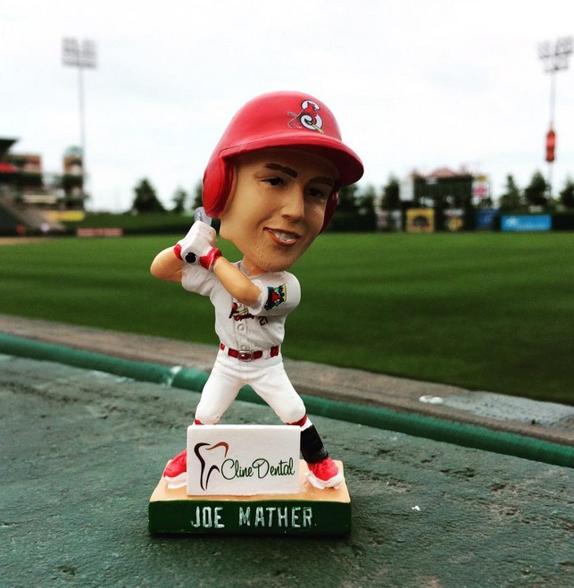 joe mather mini bobblehead - springfield cardinals - st louis cardinals