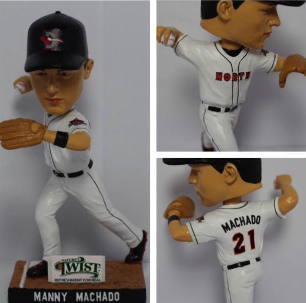 manny machado bobblehead - delmarva shorebirds - baltimore orioles