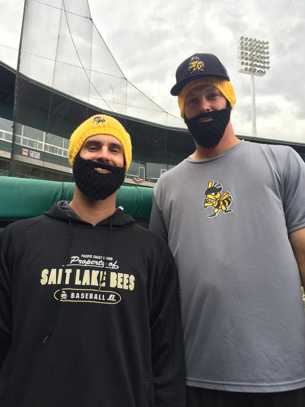 matt shoemaker beard beanie - salt lake bees - los angeles angels