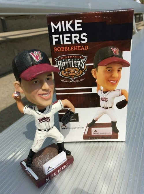 mike fiers bobblehead - wisconsin timber rattlers - milwaukee brewers
