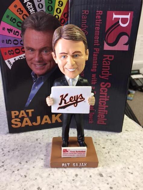 pat sajak bobblehead - fredicksburg keys - baltimore orioles