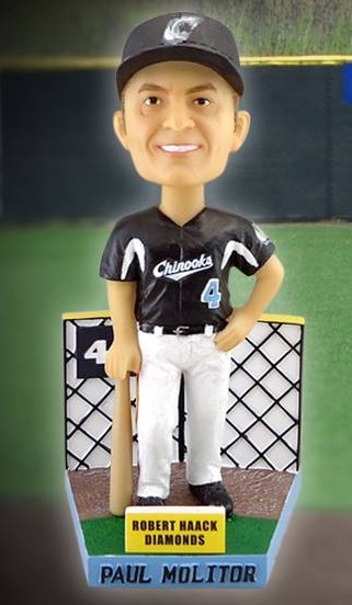paul molitor bobblehead - lakeshore chinooks - northwoods league