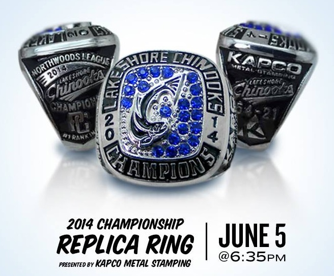 replica ring 2014 - lakeshore chinooks - northwoods league