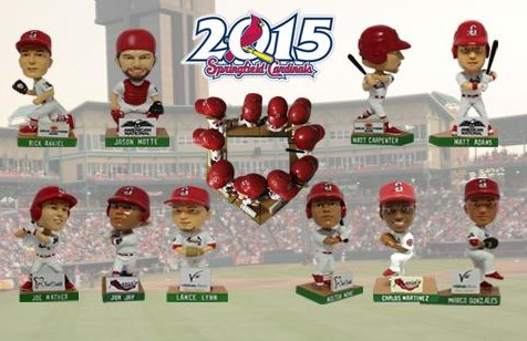 set of mini bobbleheads - springfield cardinals - st louis cardinals