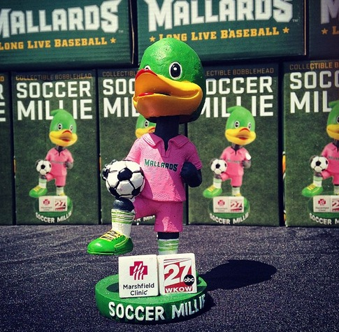soccer millie bobblehead - madison mallards - northwoods league