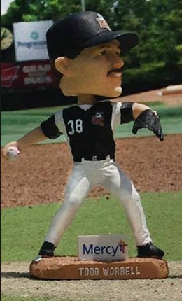 todd worrell bobblehead - river city bandits - frontier league