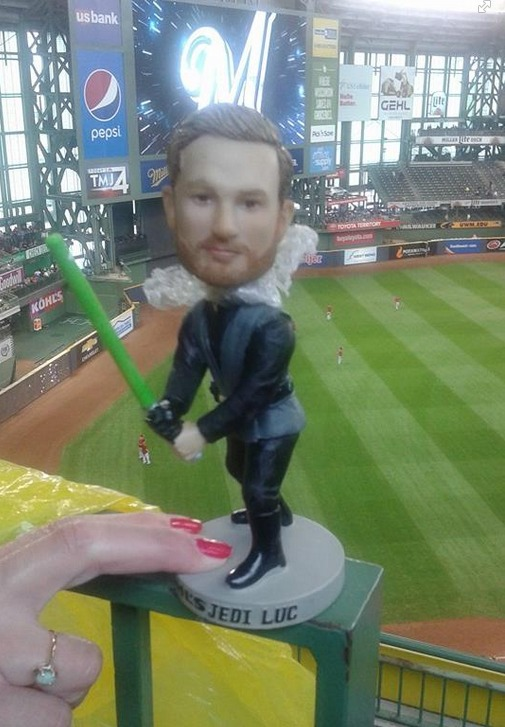 jedi jonathan lucroy star wars bobblehead - milwaukee brewers (2)
