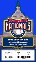 10th anniversary 2005 opening ticket replica - washington nationals