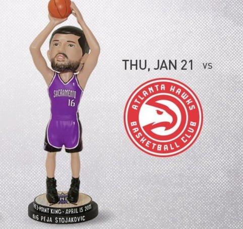 Sacramento Kings Peja Stojakovic Bobblehead 1-21-16