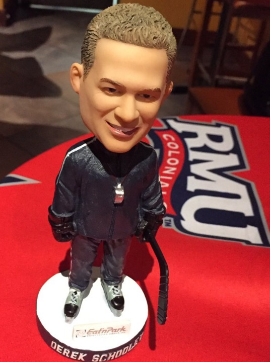Coach Derek Schooley Bobblehead - Robert Morris Univ Colonials (Men's NCAA Hockey) - 1-9-2016