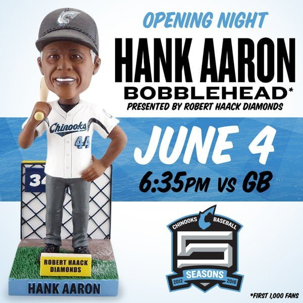 Lakeshore Chinooks Hank Arron Bobblehead 6-4-2016