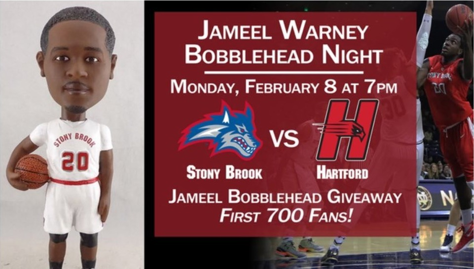Jameel Warney Bobblehead - Stony Brook University (Men's NCAA Basketball) - 2-8-2016