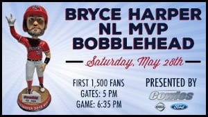 Potomic Nationals Bryce Harper NL MVP Bobblehead 5-28-2016