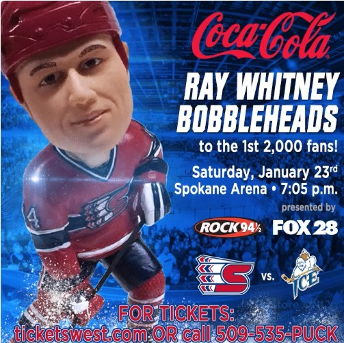 Ray Whitney Bobblehead - Spokane Chiefs - 1-23-2016