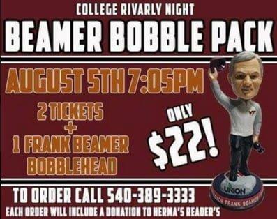 Salem Beamer Frank Beamer Bobblehead 8-5-2016