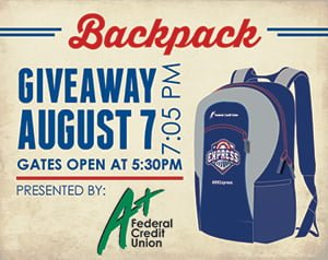 backpack - round rock express - 8-7-2016