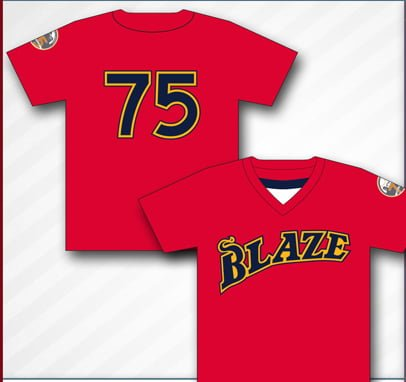throwback replica jersey - bakersfield blaze - 7-28-2016