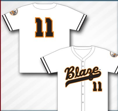 throwback replica jersey - bakersfield blaze - 8-18-2016