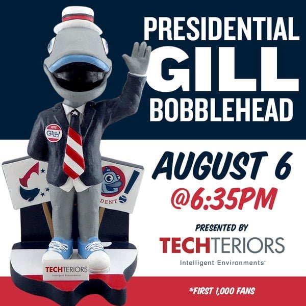Lakeshore Chinooks Presidential Gill bobblehead 8-6-2016