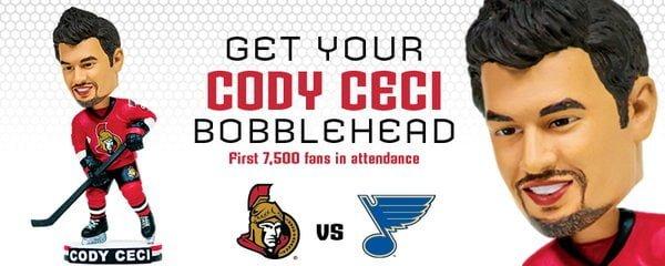 Ottawa Senators Coby Ceco Bobblehead 3-1-2106