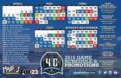 Tulsa Drillers Magnet Schedule 4-14-2016