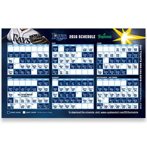 Tampa Bay Ray Magnet Schedule 4-3-2016