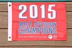 Texas Rangers Champs Flag 4-15-2016