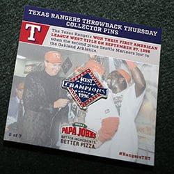 Texas Rangers Collector Pin 4-21-2016