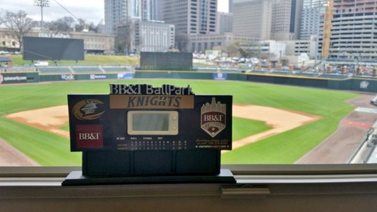 ballpark scoreboard desktop clock - charlotte knights - 4-19-2016