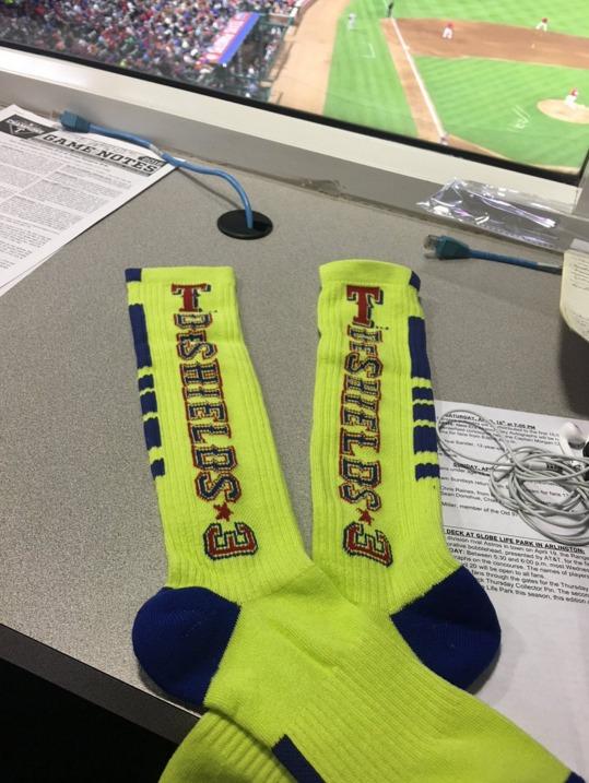 delino deshields socks - texas rangers - 4-17-2016