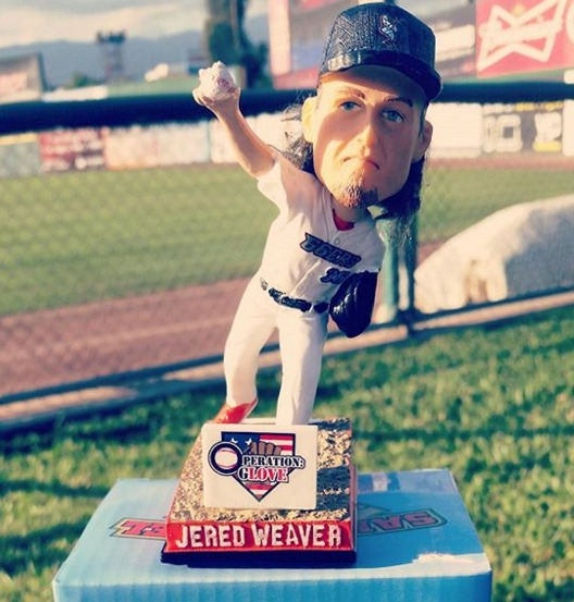 jered weaver bobblehead - inland empire 66ers - 5-21-2016