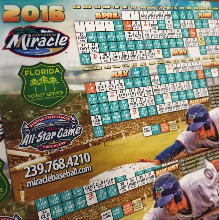 magnet schedule - fort myers miracle - 4-8-2016