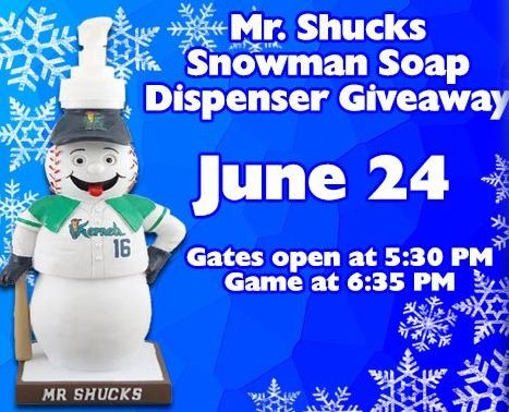 mr shucks soap dispenser - ceder rapids kernels - 6-24-2016
