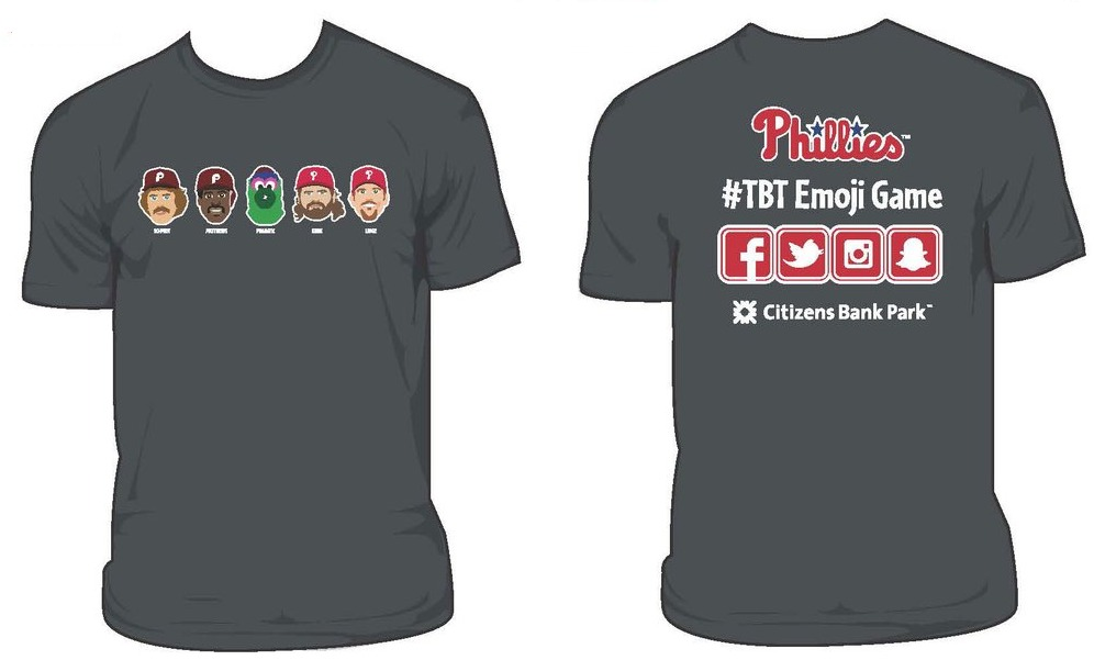phillies emoji tshirt - philadelphia phillies - various dates