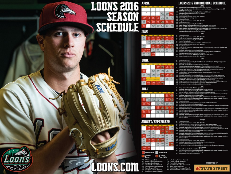schedule poster - great lakes loons - 4-22-2016