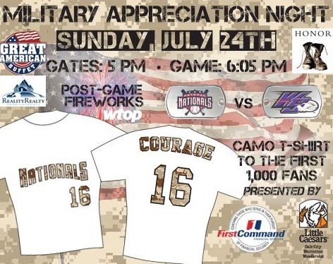 camo tshirts - potomac nationals - 7-24-2016