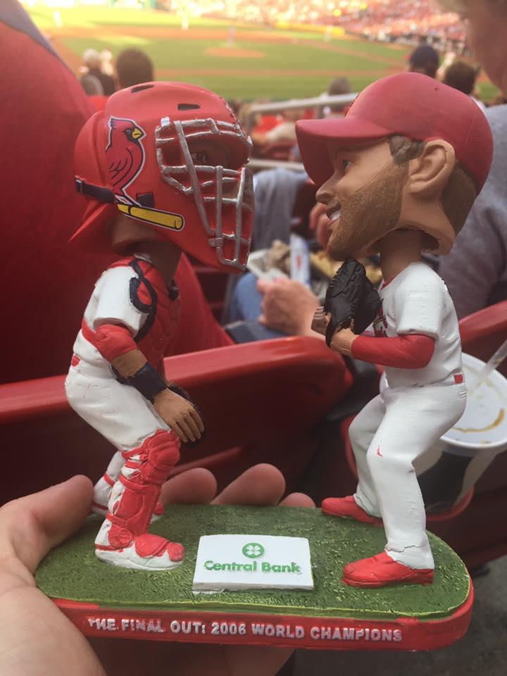 St Louis Cardinals Adam Wainwright and Yadier Molina Final Out Dual Bobblehead 6-4-2016-2