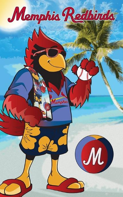 beach towel - memphis redbirds - 6-18-2016