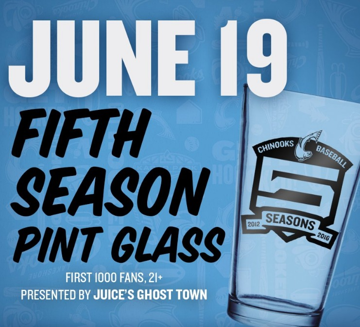 pint glass - lakeshore chinooks - 6-19-2016